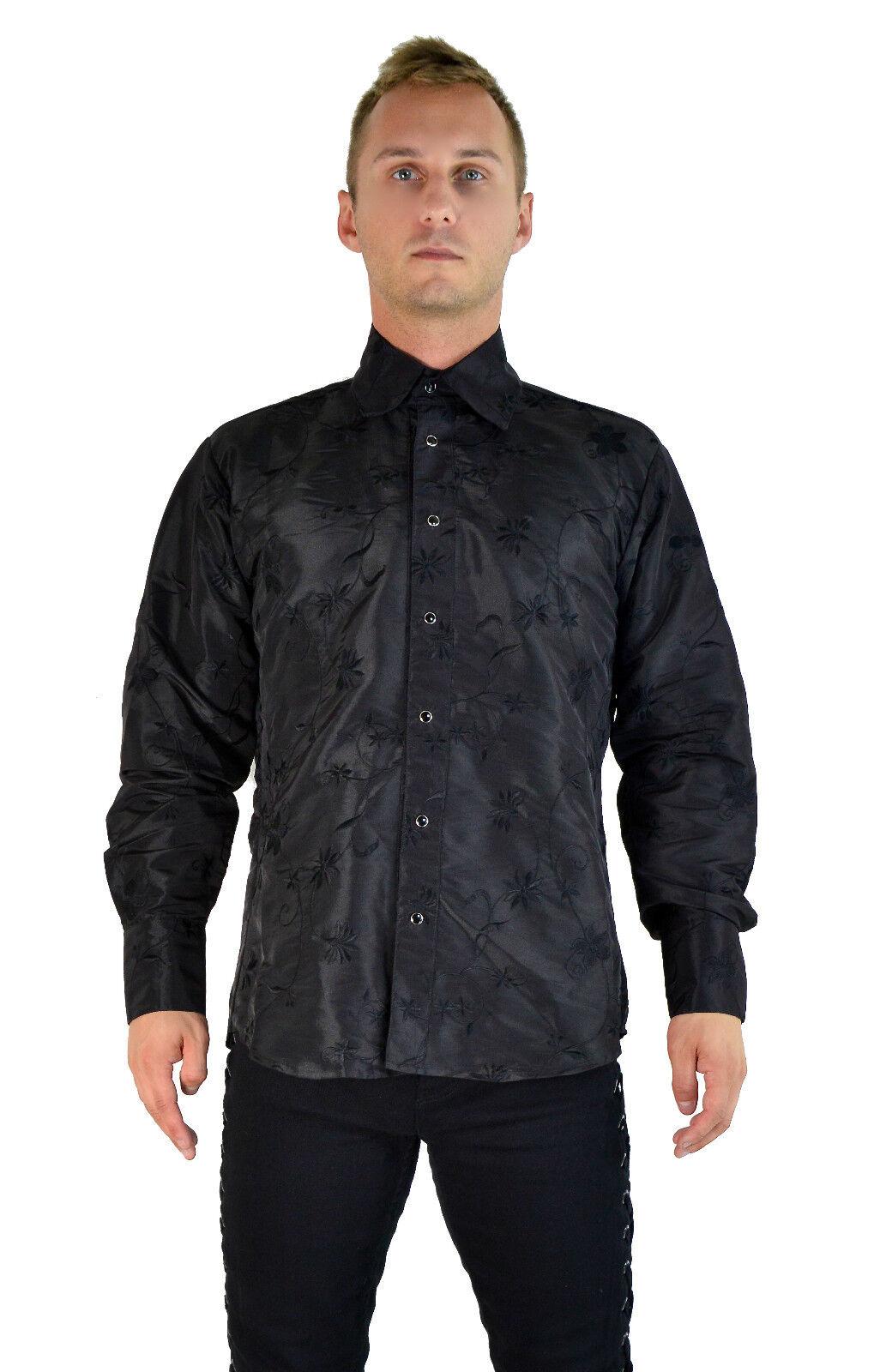 SHRINE ARISTOCRAT GOTHIC STEAMPUNK PIRATE VICTORIAN BLACK ORCHID DRESS SHIRT Casual Button-Down Shirts