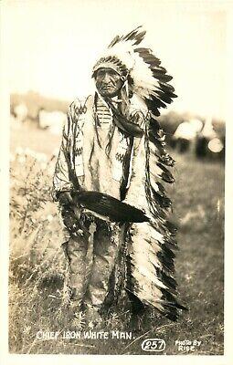CHIEF IRON WHITE MAN - Sharp Native American / Indian RISE RPPC / Photo Postcard