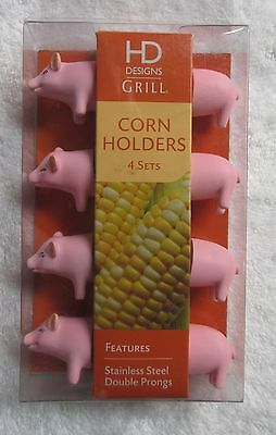 PIG CORN ON THE COB HOLDERS SET OF 4 STAINLESS STEEL DOUBLE PONGS BRAND NEW