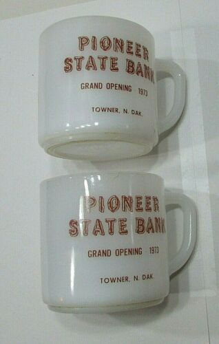 Pair 1973 Grand Opening Pioneer State Bank Towner ND Federal Glass Cups FREE S/H