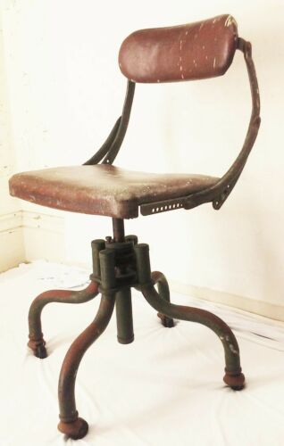 Vtg antique B&F metal industrial factory drafting stool adjustable swivel chair