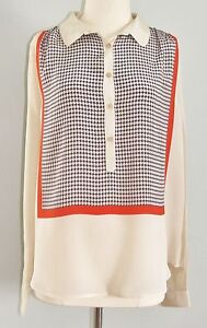 J-Crew-Collection-Silk-Crepe-Printed-Popover-Blouse-Medium-Shirt