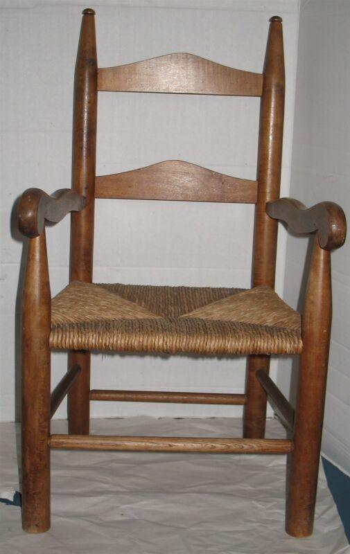 Antique Vtg Solid Wooden Rush Seat Child Size Kids Childrens Ladderback Chair