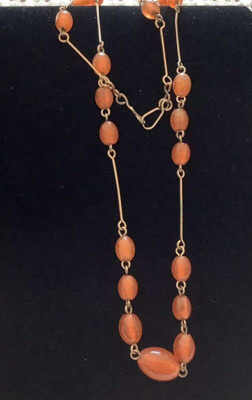 Vintage Art Deco Carnelian Gemstone / Rolled Gold Necklace c1930