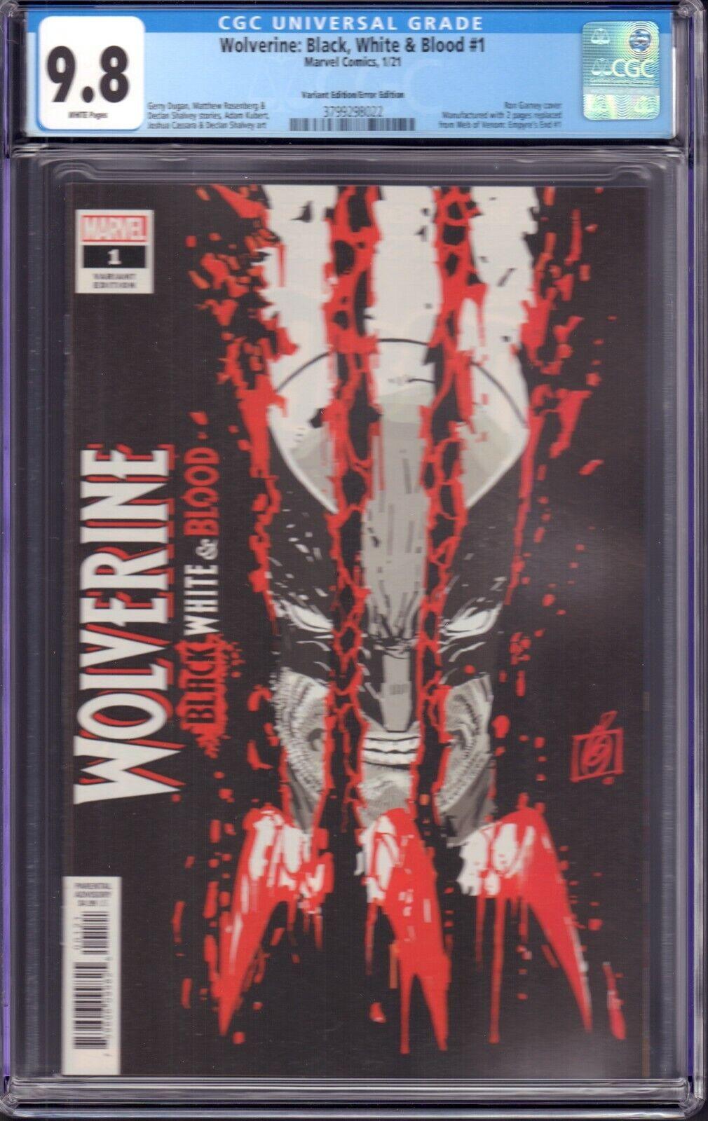 Wolverine Black, White, Blood 1 Marvel, 2021 CGC 9.8 Variant/Error Edition - $74.99