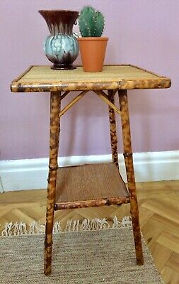 Vintage retro boho tiger bamboo oriental two tier side table colonial