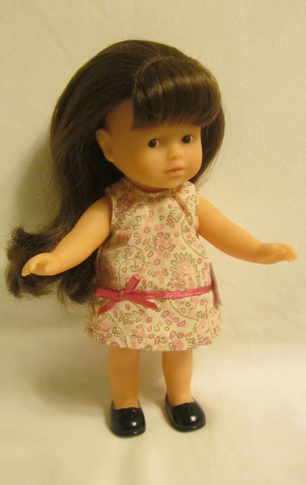 SMALL COROLLE DOLL, 8 , VINYL W/ROOTED LONG BROWN HAIR, BROWN EYES, ORIG CLOTHES - $11.99