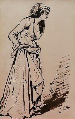 Eugène Giraud Französische Zeichnung Kostüm Theater Frau Orient - Romantik Theater Kostüme