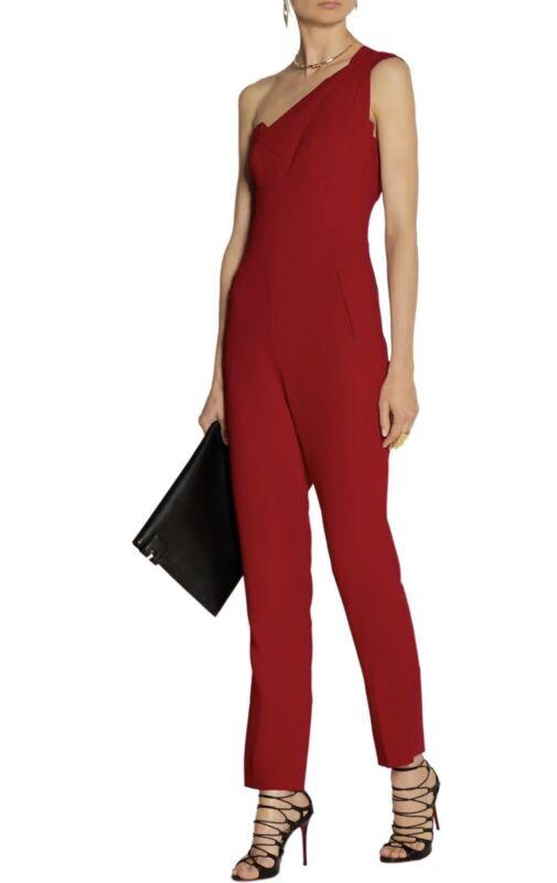 Roland Mouret Nortoni Red Crepe One Shoulder Jumpsuit Size US 2 UK 6 IT 38 $2570
