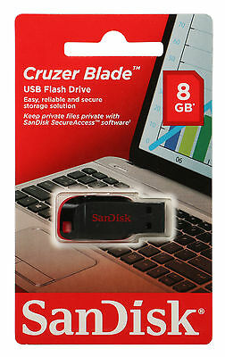 NEW SanDisk 8GB USB Flash Drive Cruzer Blade Pen Thumb Memory RETAIL Packaging