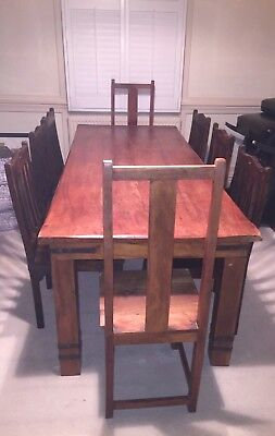 Large solid wood dining table and 8 chairs