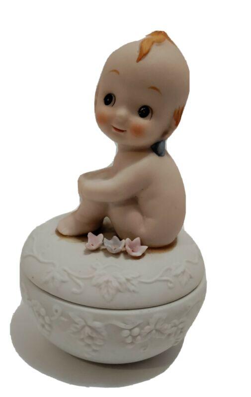 Vintage Lefton Porcelain Bisque Kewpie Doll Covered Trinket Jewelry Box C 718
