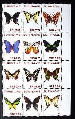 SURINAME 2005 Butterflies Block of 12 U/M NB2055