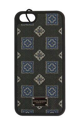 NEW DOLCE & GABBANA Phone Case Black Print Leather Silver Logo 13x7 iPhone5