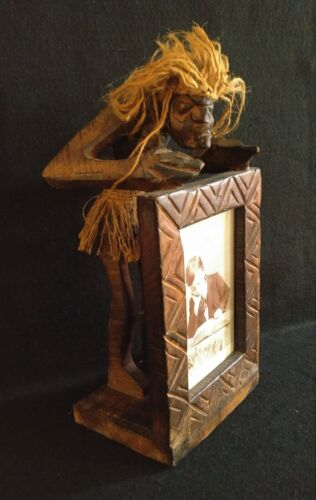 Carved Wood Tribal Shrunken Head Man Holding Picture Frame Earl Photograph
