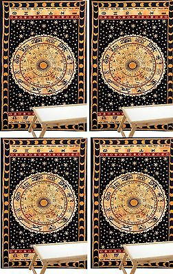 4 PCS Zodiac Astrology Mandala Tapestry Twin Indian Wall Hanging Bedspread Throw