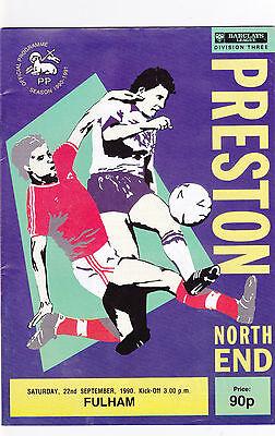 PRESTON NORTH END  V FULHAM  3RD DIVISION 22/9/90