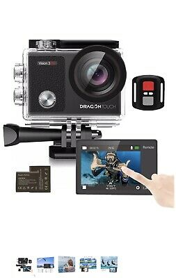 DragonTouch Vision 3 Pro Touch Screen Action Camera 4K 16MP Waterproof 100FT 2