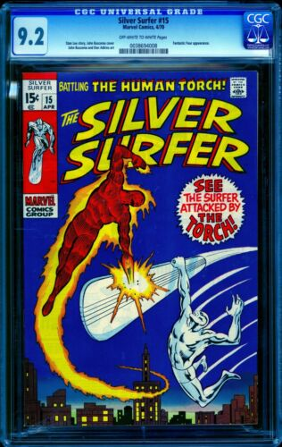 Silver Surfer #15 CGC 9.2 -- 1970 -- Perfect centering. Old label. #0038694008
