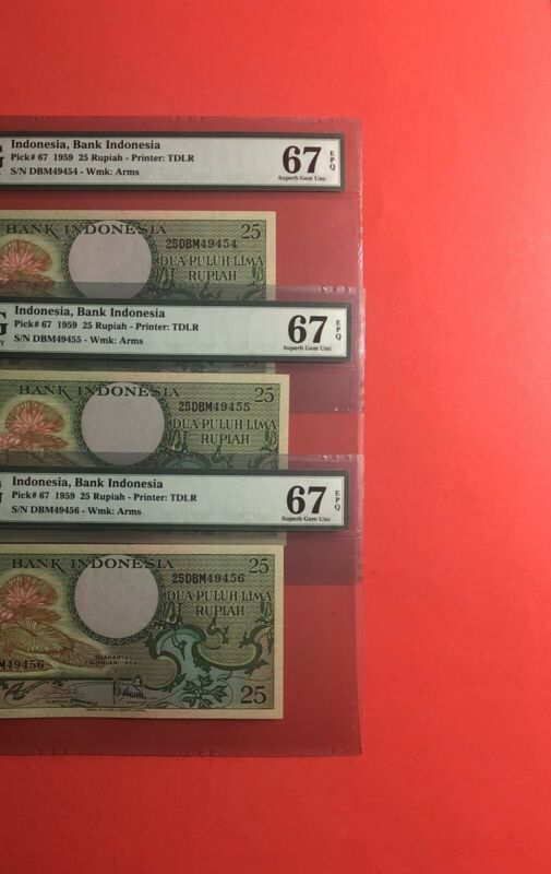 1959-INDONESIA 25 RUPIAH 3 CONSECUTIVE NOTES,GRADED BY PMG SUPERB GEM UNC 67 EPQ
