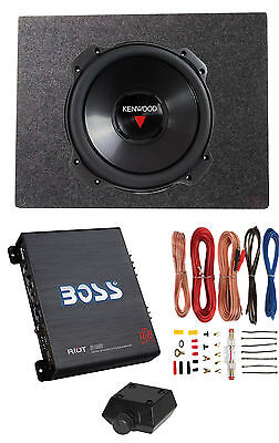 Kenwood 12 Inch 2000W 4 Ohm Subwoofer + Sealed Sub Box + Amp