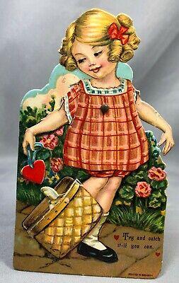 Darling VALENTINE CAT in Basket MECHANICAL German VINTAGE Original](Cat Valentines)