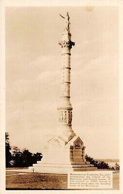 American & French Revolutionary War Monument at Yorktown VA RPPC Photo Postcard