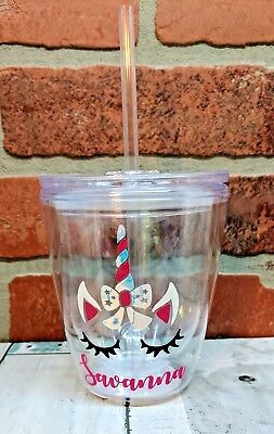 12 oz Tumbler Personalized Double Wall Cup Gift for Kids with Monogram or Name ()