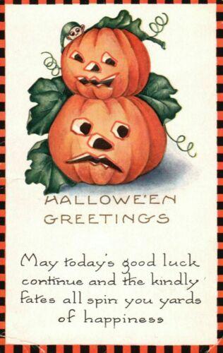 Antique Whitney Halloween Greetings~Postcard JOL Pumpkins~ Checkered Border-k727