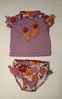 Gymboree Infant Girl~Floral Flip-Flop Rashguard 2 Piece Swimsuit set 12-18 month ()
