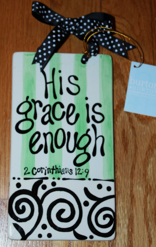 Christian Bible Verse PLAQUE His Grace Is Enough Gift Boxed NEW
