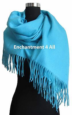 "New Elegant Large 80""x28"" Turquoise 4-Ply 100% Pure Cashmere Women Shawl Wrap"