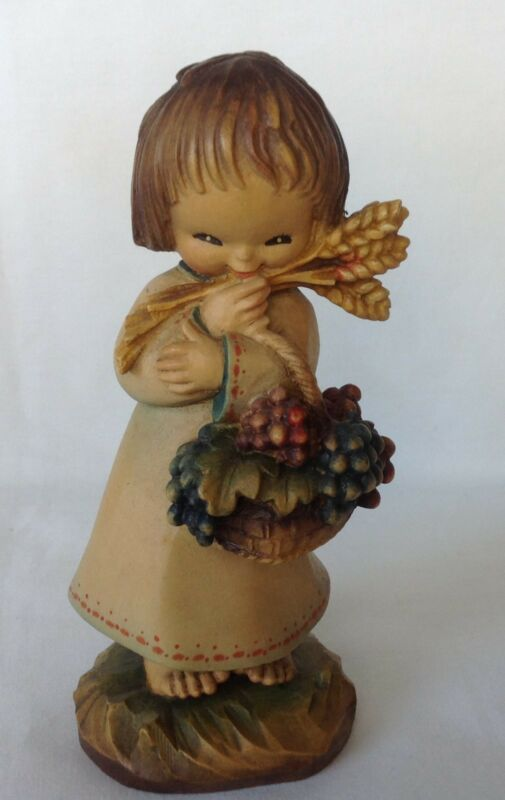 "ANRI FERRANDIZ  6"" HARVEST GIRL WOODCARVING FIGURINE LIMITED EDITION"