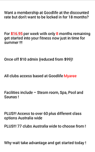 Goodlife Myree ( free transfer membership) Melville Melville Area Preview