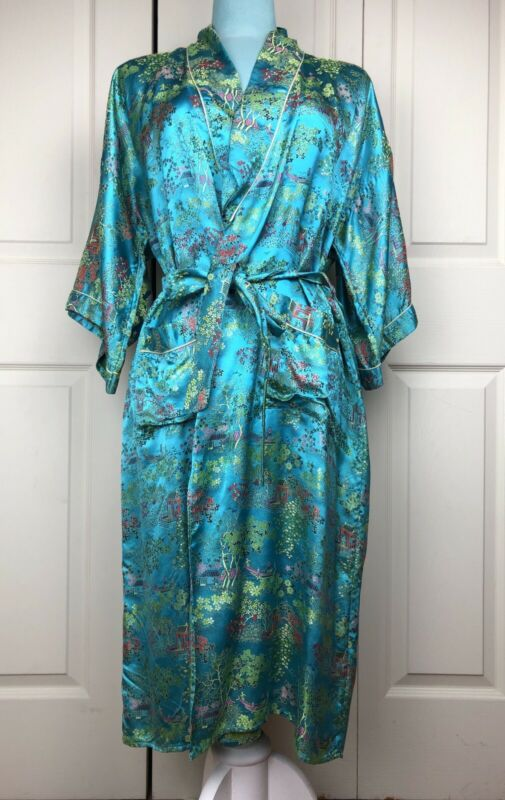 Vintage Kimono Womens Medium Embroidered Chinese Robe