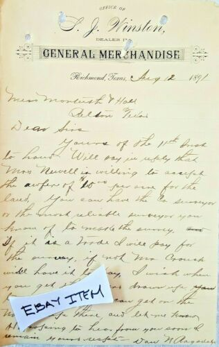 1891 RICHMOND TEXAS S.J. Winston General Merchandize Dan N. Aagasdagt