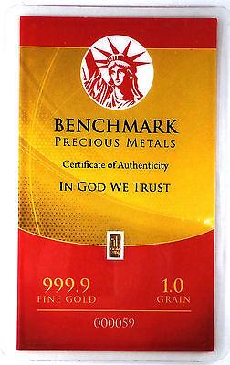 1/15 GRAM =1Gn 24K PURE GOLD .999 FINE BENCHMARK STRATEGIC METALS& CERT B11f