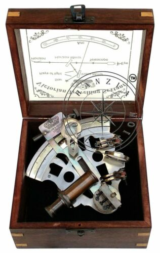 Antique Brass Working Nautical Sextant Vintage Maritime Astrolabe Wooden Box NEW