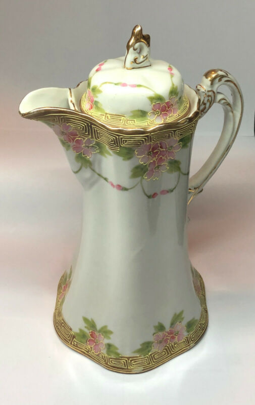 Vintage Hand Painted Teapot / Chocolate Pot Pink Flowers, Green Leaves and Gold