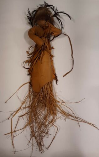 Vintage Hand Made Indian Kachina Deer Leather and Straw Doll feathers fur