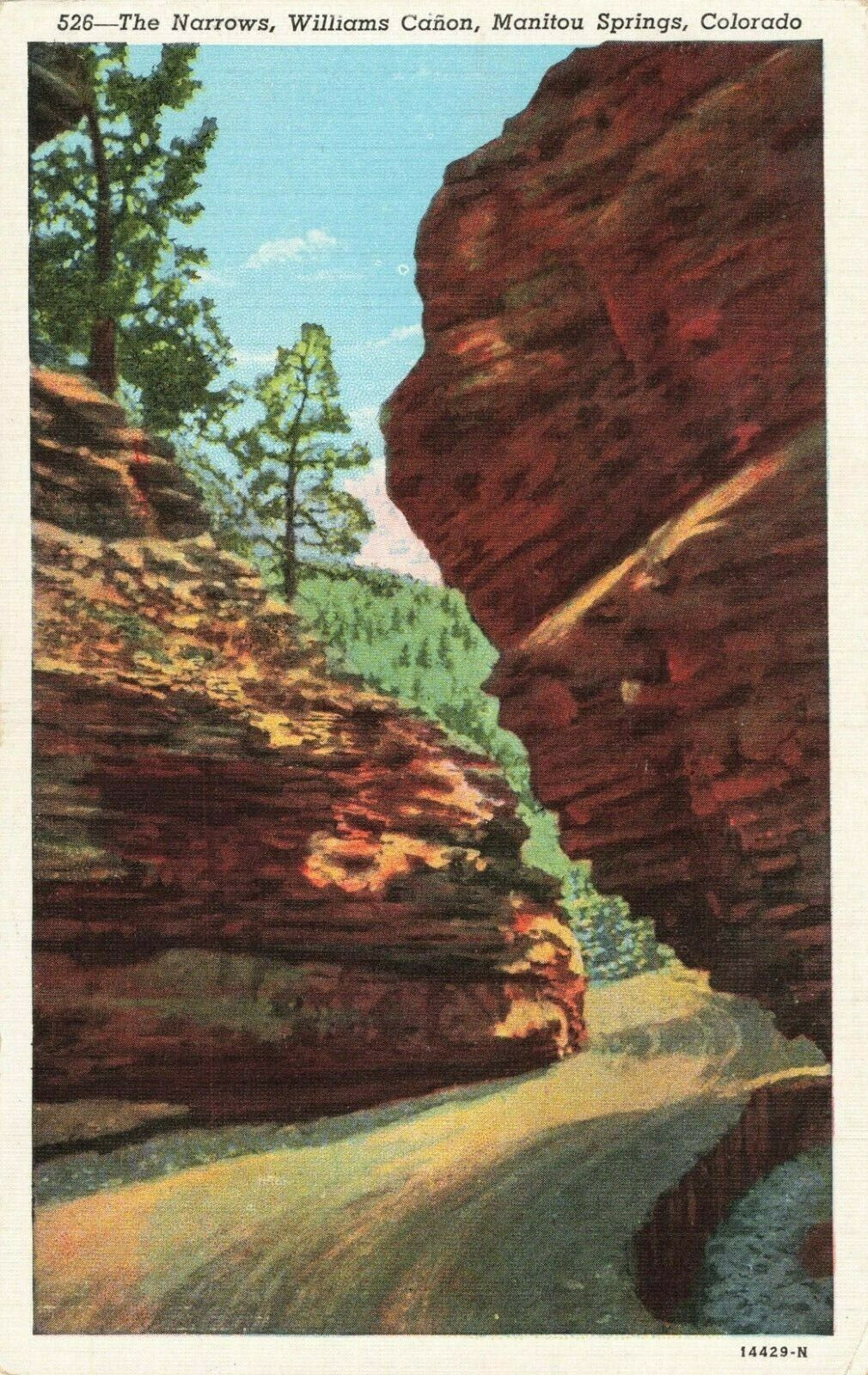Postcard Narrows Williams Canon Manitou Springs Colorado