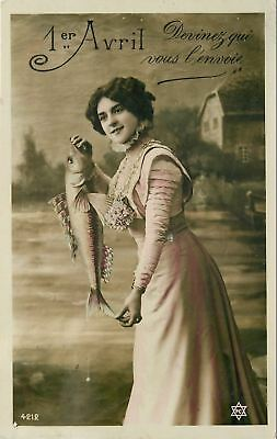 April First~Guess Who~Lady With Exaggerated Fish~Colorized Real Photo~RPPC