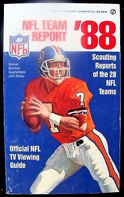 NFL TEAM REPORT '88 & OFFICIAL NFL TV VIEWING GUIDE - JOHN ELWAY DENVER BRONCOS