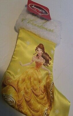 NEW Disney Belle Merry Christmas Stocking Satin with Plush Cuff yellow Embroider