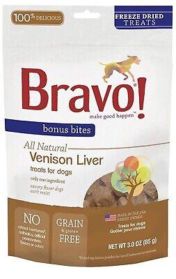 Bravo! Bonus Bites Natural Freeze Dried Venison Liver Dog Treats No Grain - Venison Liver