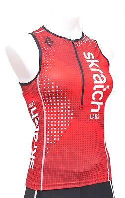 011d83bd110805 Panache skratch LABS Sleeveless Triathlon Top Women SMALL Red White Half  1 2 Zip