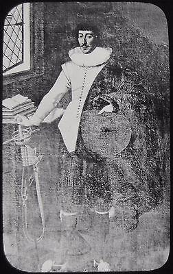 Glass Magic Lantern Slide PORTRAIT OF ST PHILIP SIDNEY C1890 DRAWING  . JV