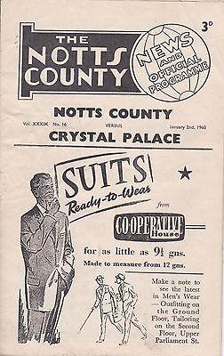 Notts County v Crystal Palace,  Division 4,  2/1/1960