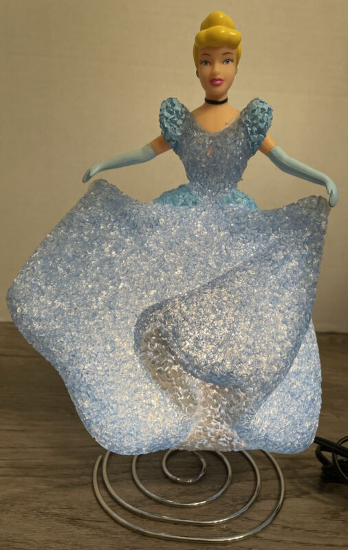 Cinderella Princess Disney Night Light Popcorn Lamp Light Up Dress Blue Sparkle