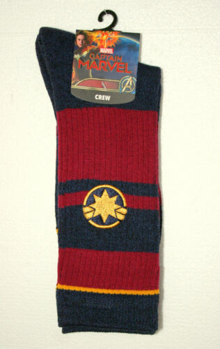 1 Pair Captain Marvel Star Logo New Tags Crew Socks Marvel Comics Fits 5-12 shoe